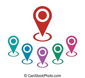 Location pin set. Isolated navigator sign vector icon.