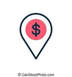 location pin with money symbol icon, half color style