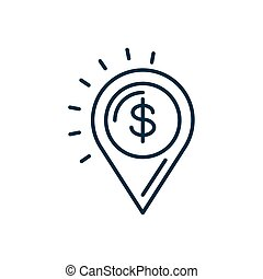 location pin with money symbol icon, line style