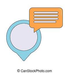 location pin with speech bubble icon, colorful design