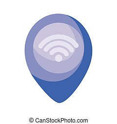 location pin with wireless icon, colorful design