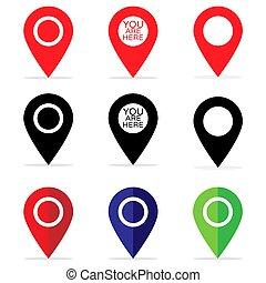 Location Pins Icon Set GPS Pointer Travel Button Marker Illustration Symbol