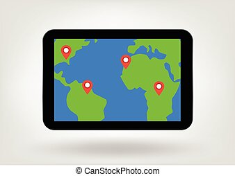 location pins on map on tablet display illustration -...