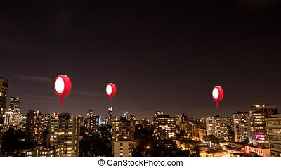 Location pins over cityscape - Animation of three red and ...
