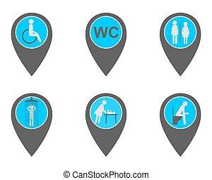 Location pins with symbols for washroom