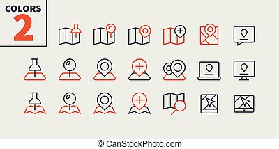 Location Pixel Perfect Well-crafted Vector Thin Line Icons 48x48 Ready for 24x24 Grid for Web Graphics and Apps with Editable Stroke. Simple Minimal Pictogram Part 2