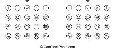 Location Pixel Perfect Well-crafted Vector Thin Line Icons 48x48 Ready for 24x24 Grid for Web Graphics and Apps with Editable Stroke. Simple Minimal Pictogram