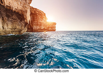 Location place Azure Window, Gozo island, Dwejra. Malta,...