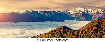 Location place Upper Svaneti, Mestia, Georgia, Europe. High...