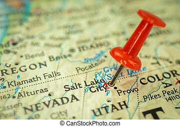 Location Salt Lake city in Utah, map with red push pin pointing close-up, USA, United States of America