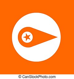 Location sign icon with star. In white circle on a orange background.