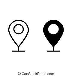 Location sign line and glyph icon. Gps pin vector illustration isolated on white. Map point outline style design, designed for web and app. Eps 10