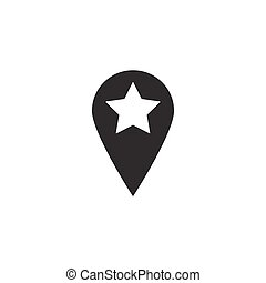 Location solid icon, pin sign, map pointer,