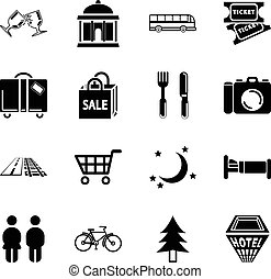 location tourism icons - Icon set relating to city or...