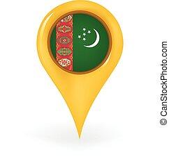 Map pin showing Turkmenistan.