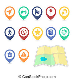Location UI design elements, contrast color isolated vector...