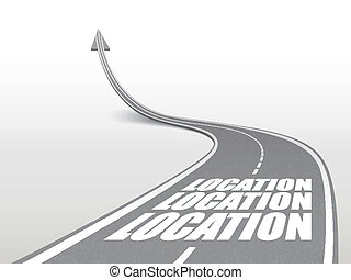 location word on highway road going