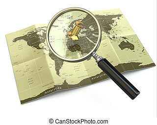 locations., mapof, loupe, trouver, world.