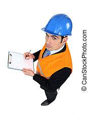 locaux, inspection, homme