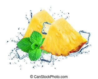 loccsanás, jég, ananász