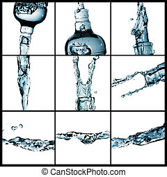 loccsanás, víz, kollázs