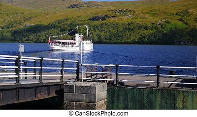 Loch Katrine, Scottish Highlands - Steam ship sails Loch...