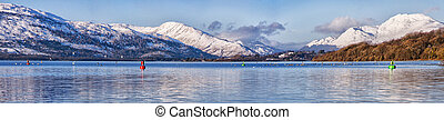 loch lomond panorama - A panoramic view of the majestic and...