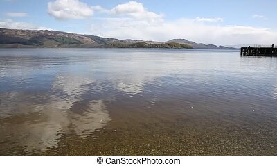 Loch Lomond Scotland UK in summer with clear water mountains...