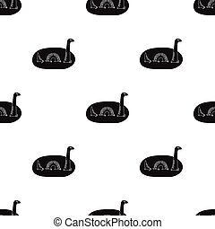 Loch Ness monster icon in black style isolated on white background. Scotland country symbol stock vector illustration.