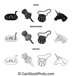 Loch Ness monster, thistle flower, unicorn, sporan. Scotland country set collection icons in black, monochrome, outline style bitmap symbol stock illustration web.
