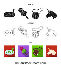 Loch Ness monster, thistle flower, unicorn, sporan. Scotland country set collection icons in black, flat, outline style bitmap symbol stock illustration web.