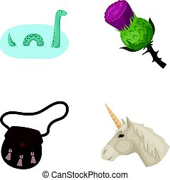 Loch ness monster, thistle flower, unicorn, sporan ...
