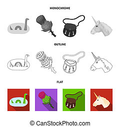 Loch Ness monster, thistle flower, unicorn, sporan. Scotland country set collection icons in flat, outline, monochrome style bitmap symbol stock illustration web.