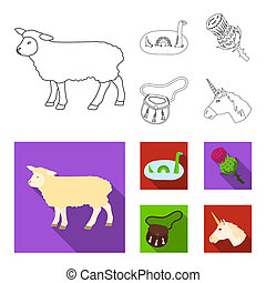 Loch Ness monster, thistle flower, unicorn, sporan. Scotland country set collection icons in outline, flat style bitmap symbol stock illustration web.