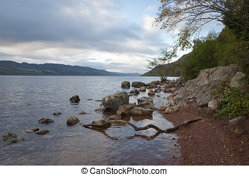 Loch Ness in winter. View from west shore.