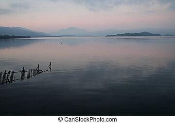 Loch Reflection - Late evening at Loch Lomond in Scotland.