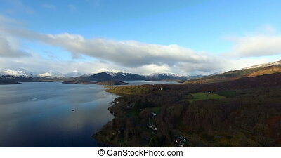 Loch Tay in the Scottish Highlands - Aerial: Loch Tay in the...