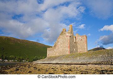 lochranza castle - Ruined castle in Arran, Scotland on a...