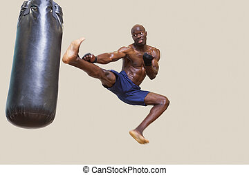 lochung, muskulös, shirtless, tasche, boxer, treten