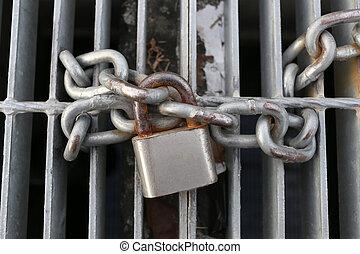 lock., öreg, lánc, lakat