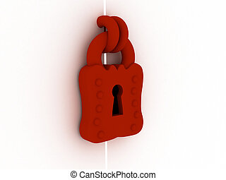 Lock 3d - The red lock hanging on grey doors