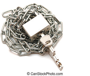 Lock and chain on white background