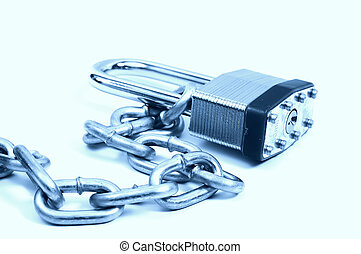 Lock and Chain in Cyan
