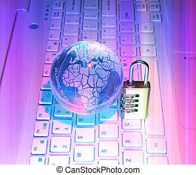 Lock and glass earth with technology style