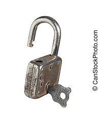 Lock and key - An open lock with a key isolated on white...