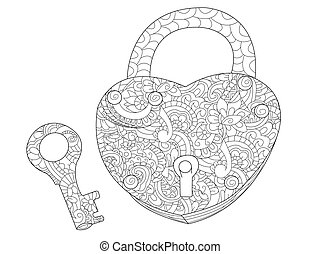 Lock and key coloring book for adults vector - Lock in the...