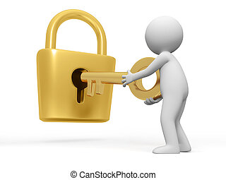 Lock and key - A people open a lock with a key