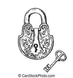 Lock and key engraving vector illustration