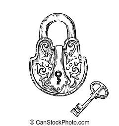 Lock and key engraving vector illustration
