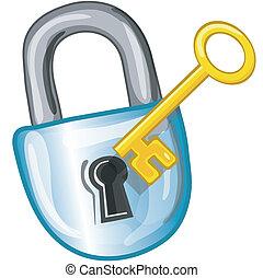 Stylized lock and key icon or symbol.